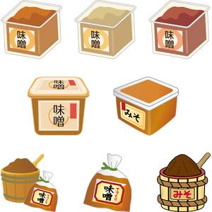 フリーイラスト, ベクター画像, AI, 発酵食品, 調味料, 味噌(みそ), 和食