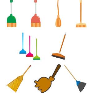 フリーイラスト, ベクター画像, AI, 掃除(清掃), 掃除用具, 箒(ホウキ), 空飛ぶ箒, ハロウィン(ハロウィーン)