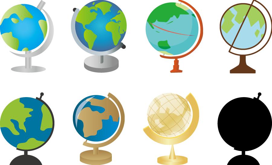 フリーイラスト 8種類の地球儀のセット