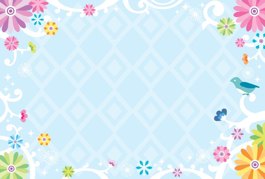 フリーイラスト 青い鳥と花柄の飾り枠
