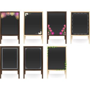 フリーイラスト, ベクター画像, AI, メニューボード, 黒板, 立て看板, 看板, 打ち上げ花火, コスモス(秋桜), つる植物