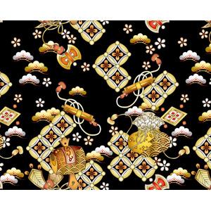 フリーイラスト, ベクター画像, AI, 背景, 和柄, 松(マツ), 七宝, 打ち出の小槌, 巻物