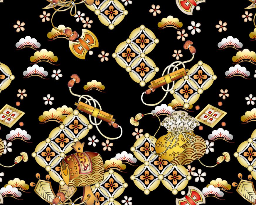 フリーイラスト 巻物と打ち出の小槌と松と七宝の和柄背景