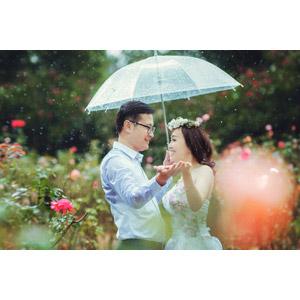 フリー写真, 人物, カップル, 結婚式(ブライダル), 二人, 花婿(新郎), 花嫁(新婦), ウェディングドレス, 傘, 雨, 人と花, 向かい合う, ベトナム人