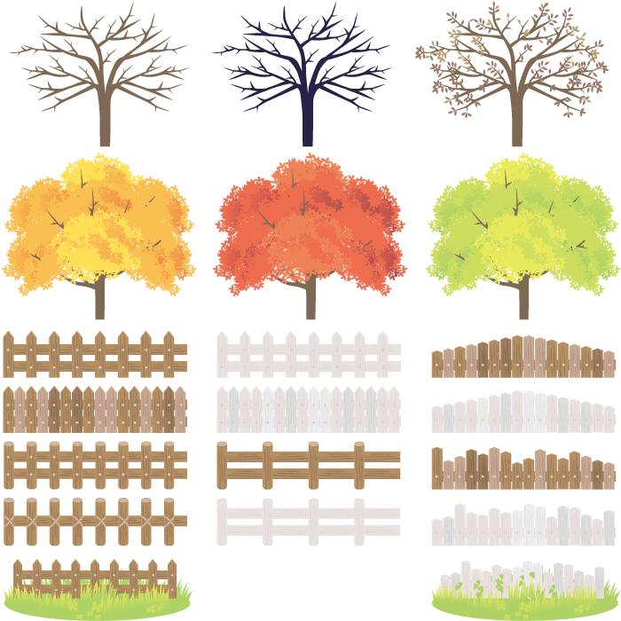 フリーイラスト 春夏秋冬の木と柵のセット