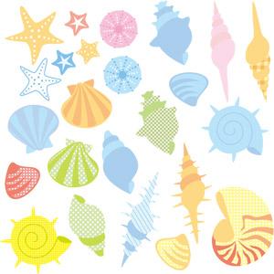 フリーイラスト, ベクター画像, EPS, 貝殻, 雲丹(ウニ), 貝殻