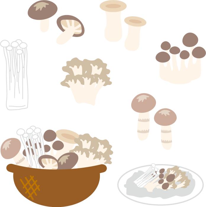 フリーイラスト 松茸や椎茸などの食用キノコのセット