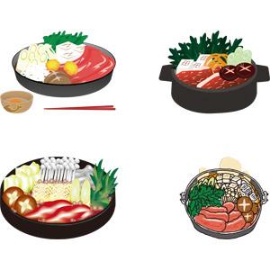 フリーイラスト, ベクター画像, AI, 食べ物(食料), 料理, 鍋料理, すき焼き, 冬, 日本料理, 和食, 肉料理, 牛肉料理
