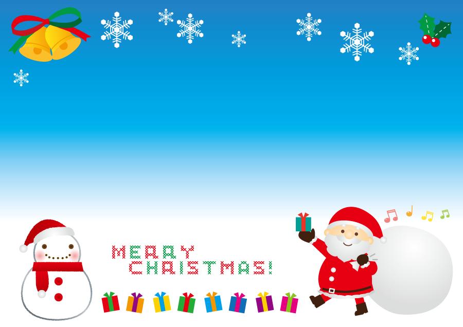 フリーイラスト サンタと雪だるまのクリスマス背景