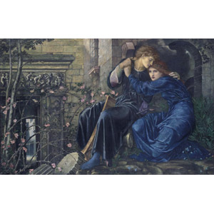 フリー絵画, エドワード・バーン=ジョーンズ, 人物画, カップル, 恋人, 愛(ラブ), 抱き合う, 二人, 廃墟
