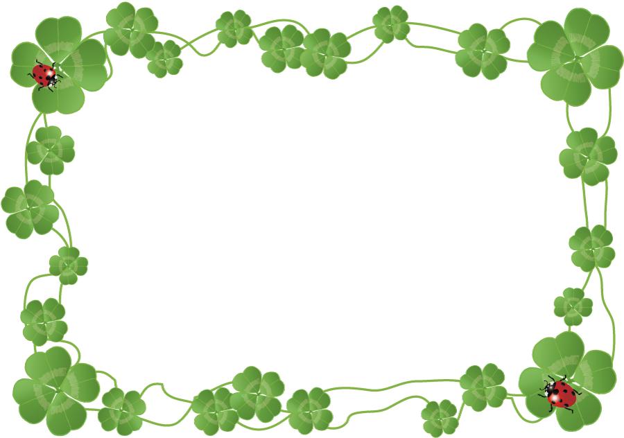 フリーイラスト 四つ葉のクローバーとてんとう虫のフレーム