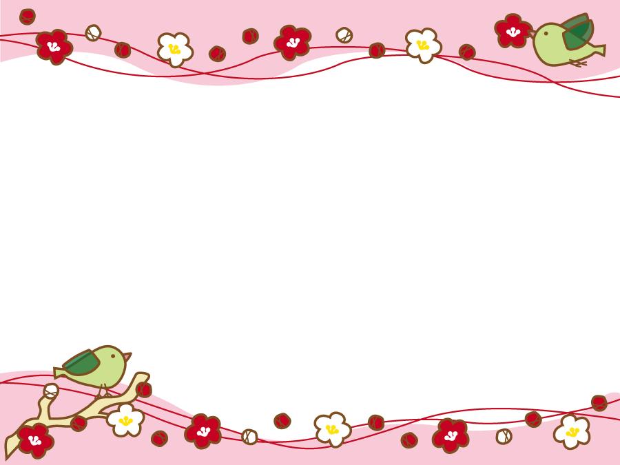 フリーイラスト 梅の花と鶯の飾り枠