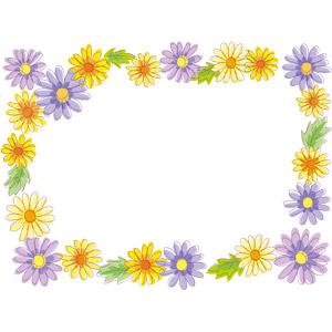 フリーイラスト, ベクター画像, EPS, 背景, フレーム, 囲みフレーム, 植物, 花