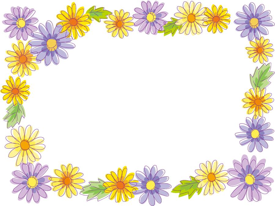 フリーイラスト 花の飾り枠