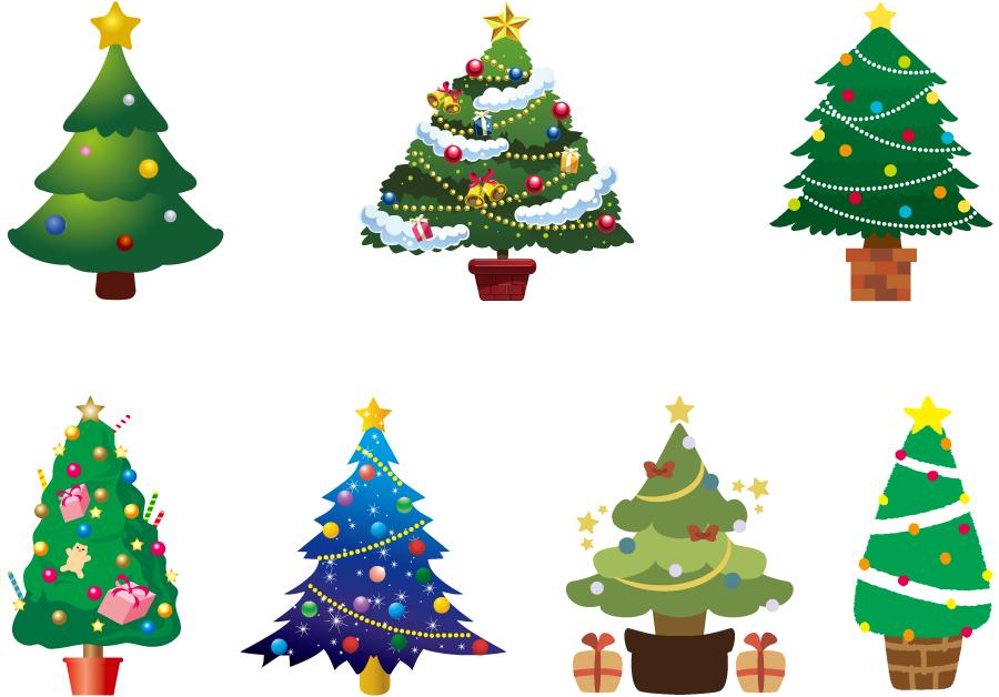 フリーイラスト 7種類のクリスマスツリーのセット