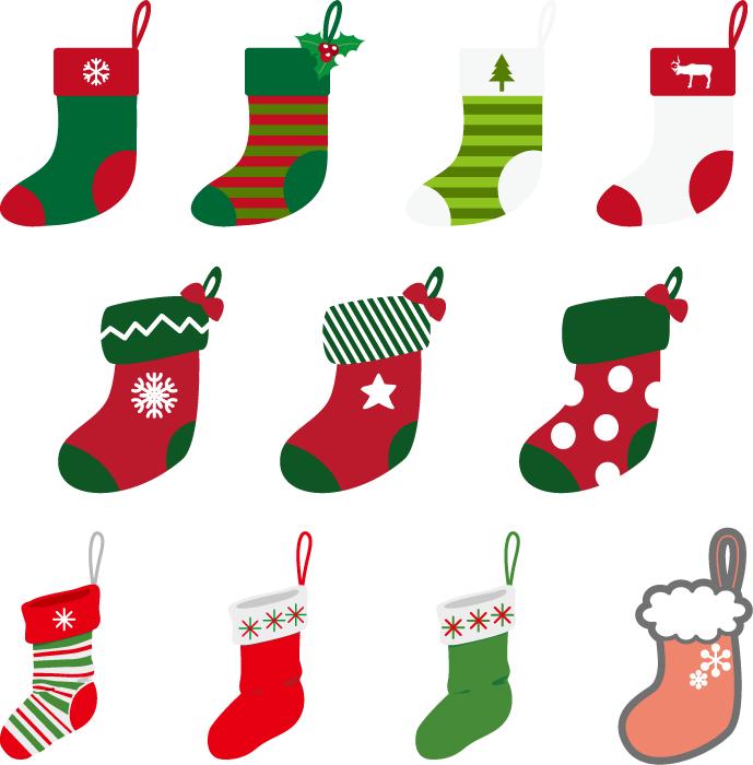 フリーイラスト 11種類のクリスマスの靴下のセット