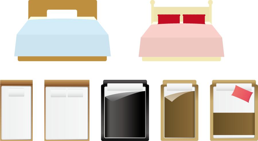 フリーイラスト 7種類のベッドのセット