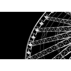 フリー写真, 遊園地(テーマパーク), 遊具, 観覧車, レジャー, モノクロ