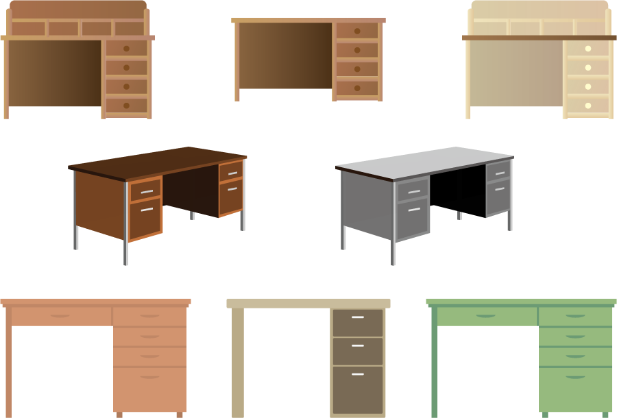 フリーイラスト 8種類の机のセット