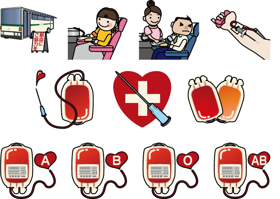フリーイラスト 11種類の献血のセット
