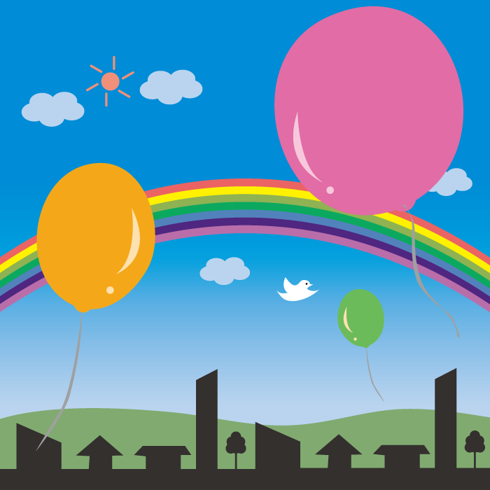 フリーイラスト 風船と虹のかかる街