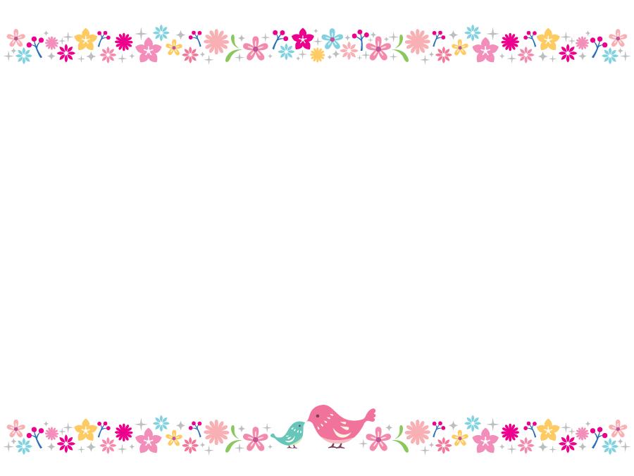 フリーイラスト 小鳥の親子と花柄の飾り枠