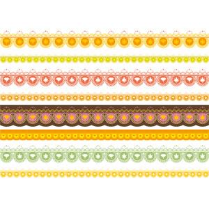 フリーイラスト, ベクター画像, AI, 飾り罫線(ライン), レース編み, 秋, もみじ(カエデ), イチョウ