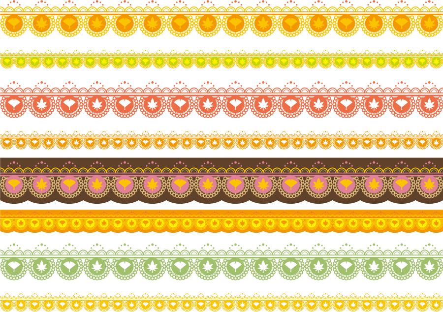 フリーイラスト イチョウとモミジの柄のレース編みのライン