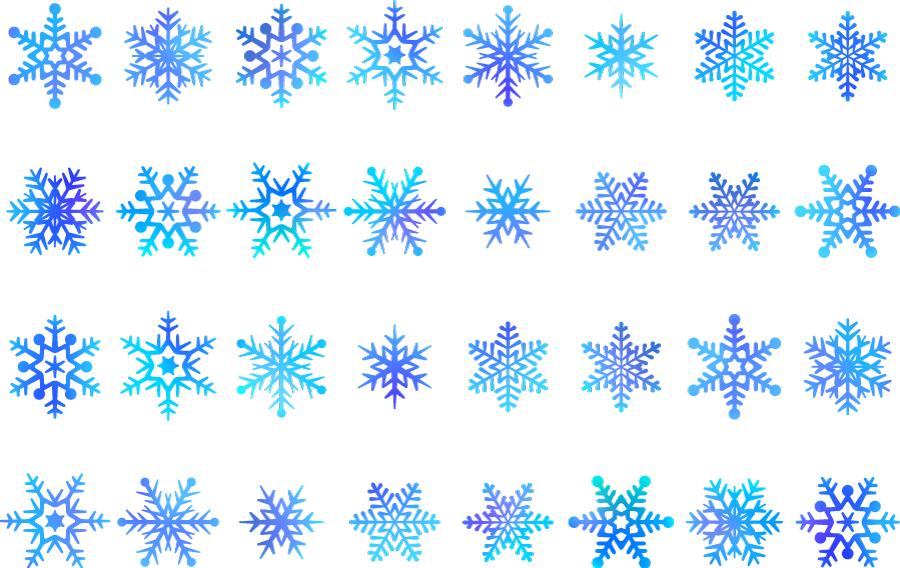 フリーイラスト 32種類の雪の結晶のセット