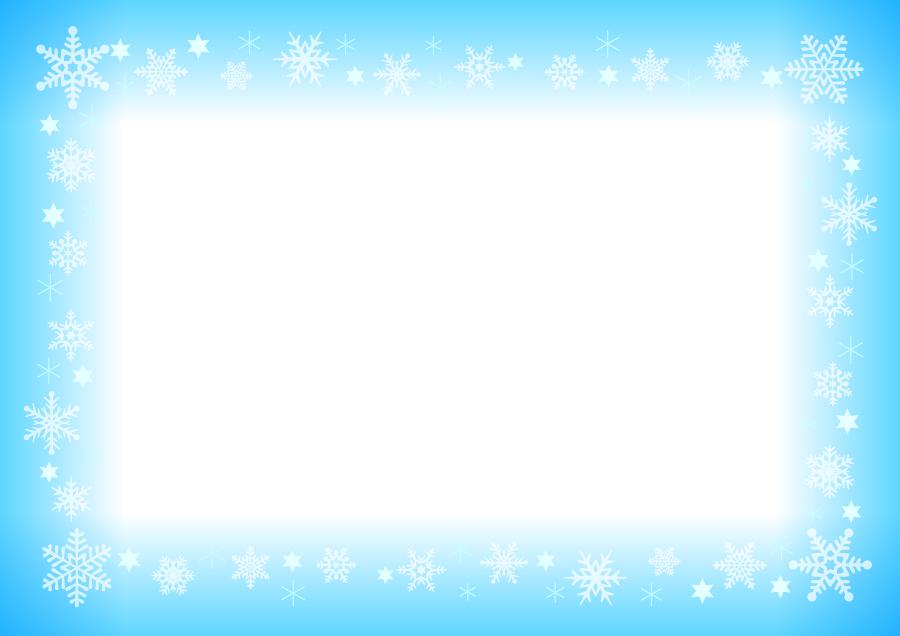 フリーイラスト 雪の結晶の飾り枠