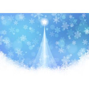 フリーイラスト, ベクター画像, AI, 背景, 年中行事, クリスマス, 12月, 冬, クリスマスツリー, 雪, 雪の結晶, 青色(ブルー)