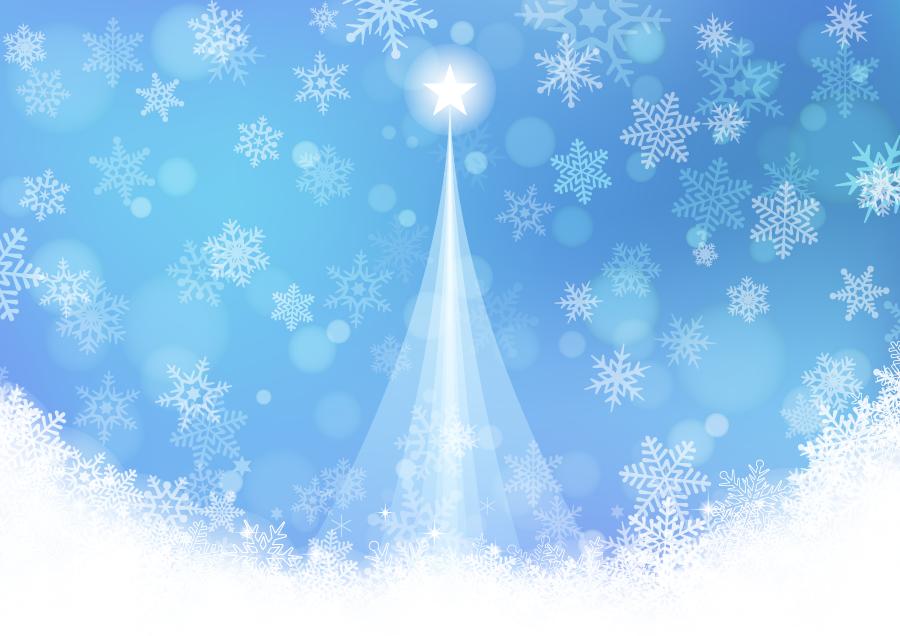 フリーイラスト 降り積もる雪の結晶とクリスマスツリーの背景