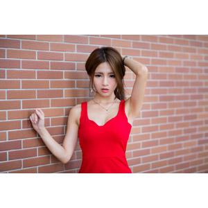 フリー写真, 人物, 女性, アジア人女性, Dora(00078), 中国人, 頭に手を当てる, ドレス