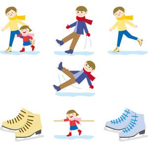 フリーイラスト, ベクター画像, AI, スポーツ, ウィンタースポーツ, アイススケート, 冬, 人物, 男性, 女性, 子供, 女の子, スケート靴, 転倒(こける)