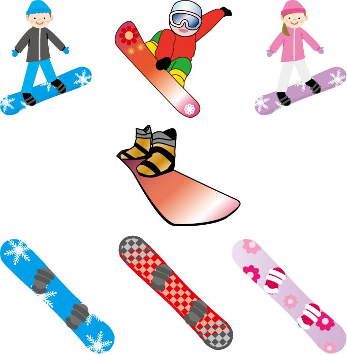 フリーイラスト 7種類のスノーボードとスノーボーダーのセット