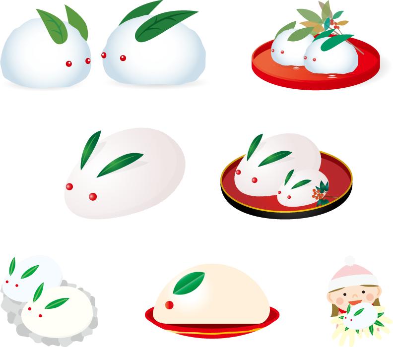 フリーイラスト 7種類の雪兎のセット