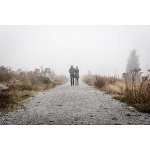 フリー写真, 人物, カップル, 恋人, 人と風景, 小道, 霧(霞), 肩を組む, 後ろ姿
