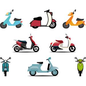フリーイラスト, ベクター画像, AI, 乗り物, バイク(オートバイ), スクーター