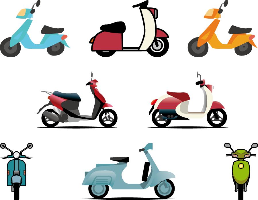 フリーイラスト 8種類のスクーターのセット