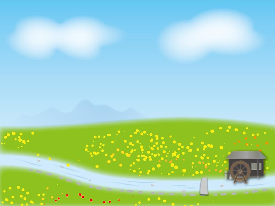 フリーイラスト 青空と花の咲く丘と水車小屋のある風景