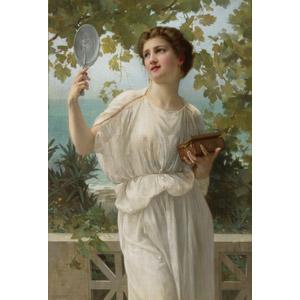 フリー絵画, ギヨーム・セイニャク, 人物画, 女性, 外国人女性, 手鏡
