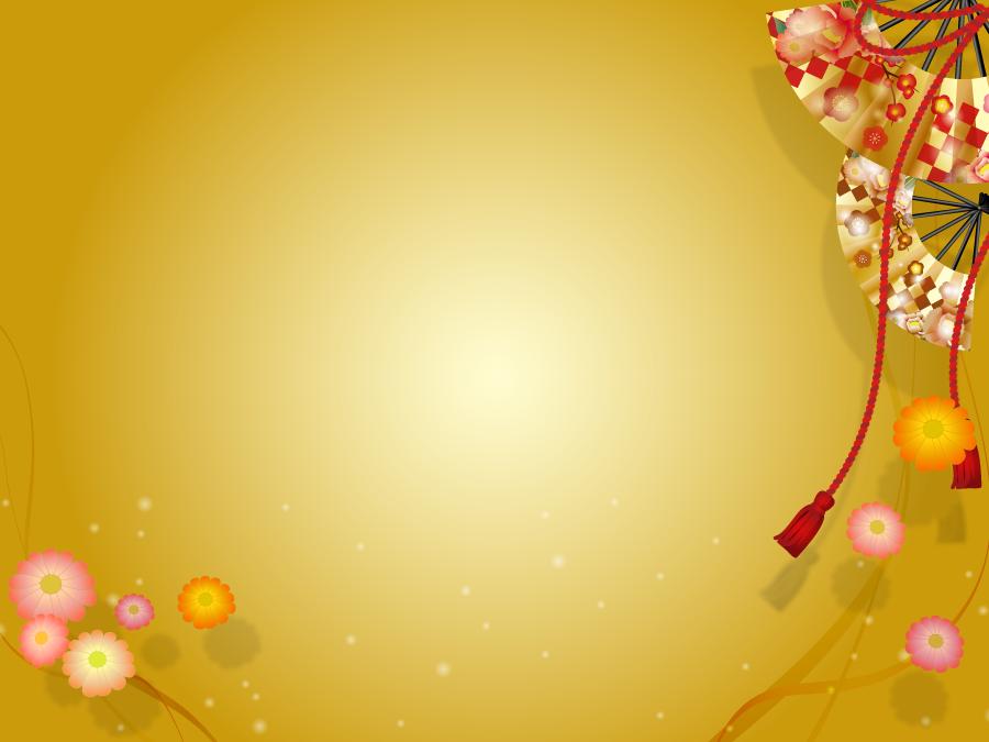フリーイラスト 扇子と花と金色の和柄背景