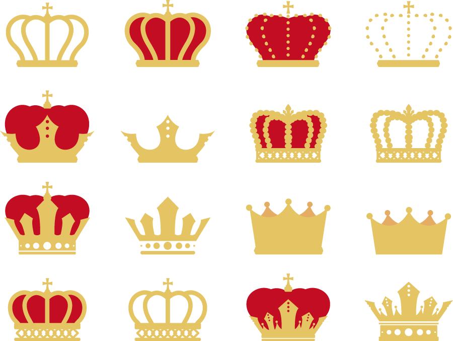 フリーイラスト 16種類の王冠のセット