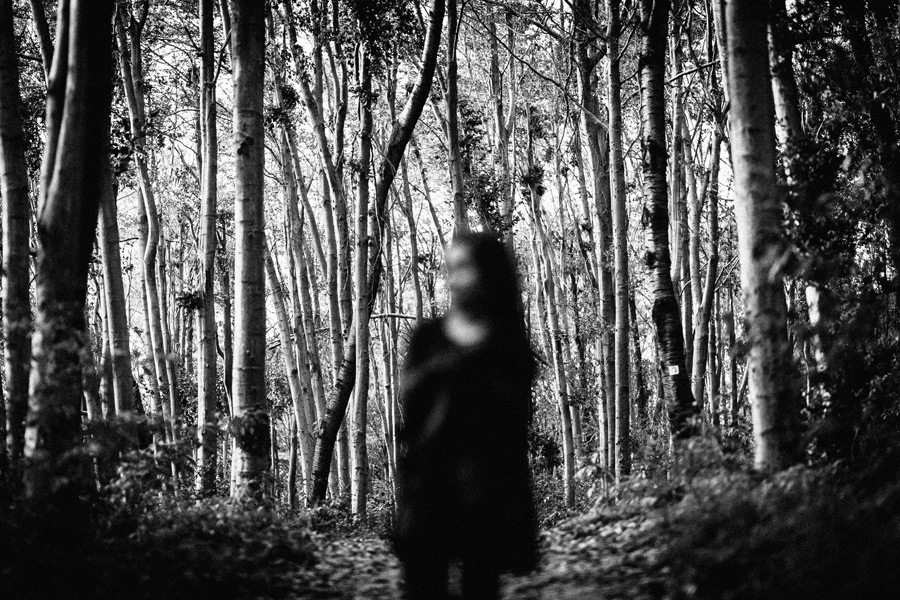 フリー写真 森の木々の前に立つ女性