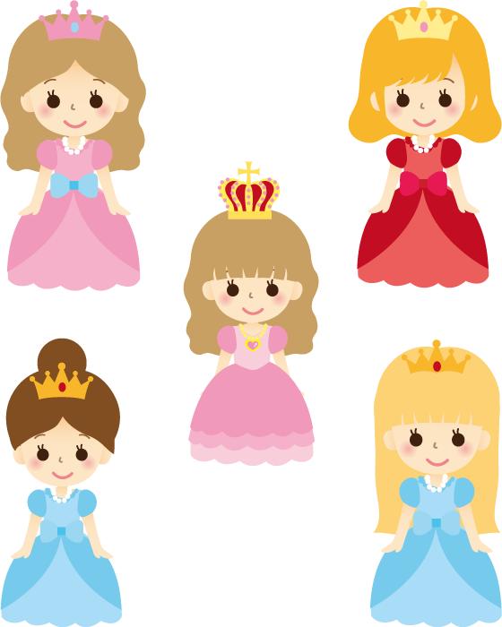 フリーイラスト 5種類のお姫様のセット