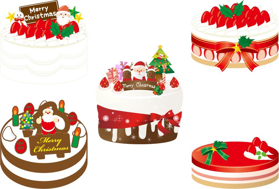 フリーイラスト デコレーションされた5種類のクリスマスケーキのセット