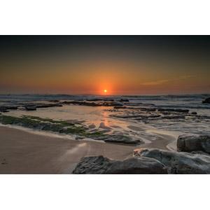 フリー写真, 風景, 自然, 海, 砂浜(ビーチ), 夕暮れ(夕方), 夕焼け, 夕日, 日の入り, ポルトガルの風景