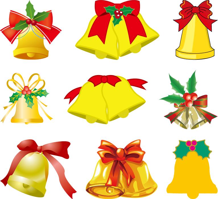 フリーイラスト 9種類のクリスマスベルのセット