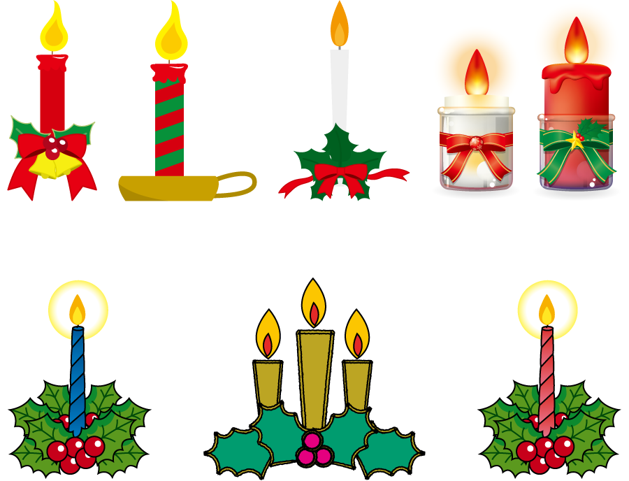 フリーイラスト 7種類のクリスマスキャンドルのセット
