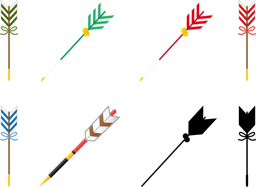 フリーイラスト 8種類の破魔矢のセット